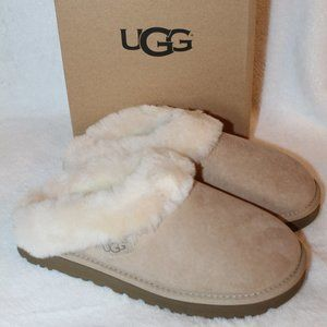 UGG CLUGGETTE SUEDE SHEARLING SLIDE SLIPPERS SAND